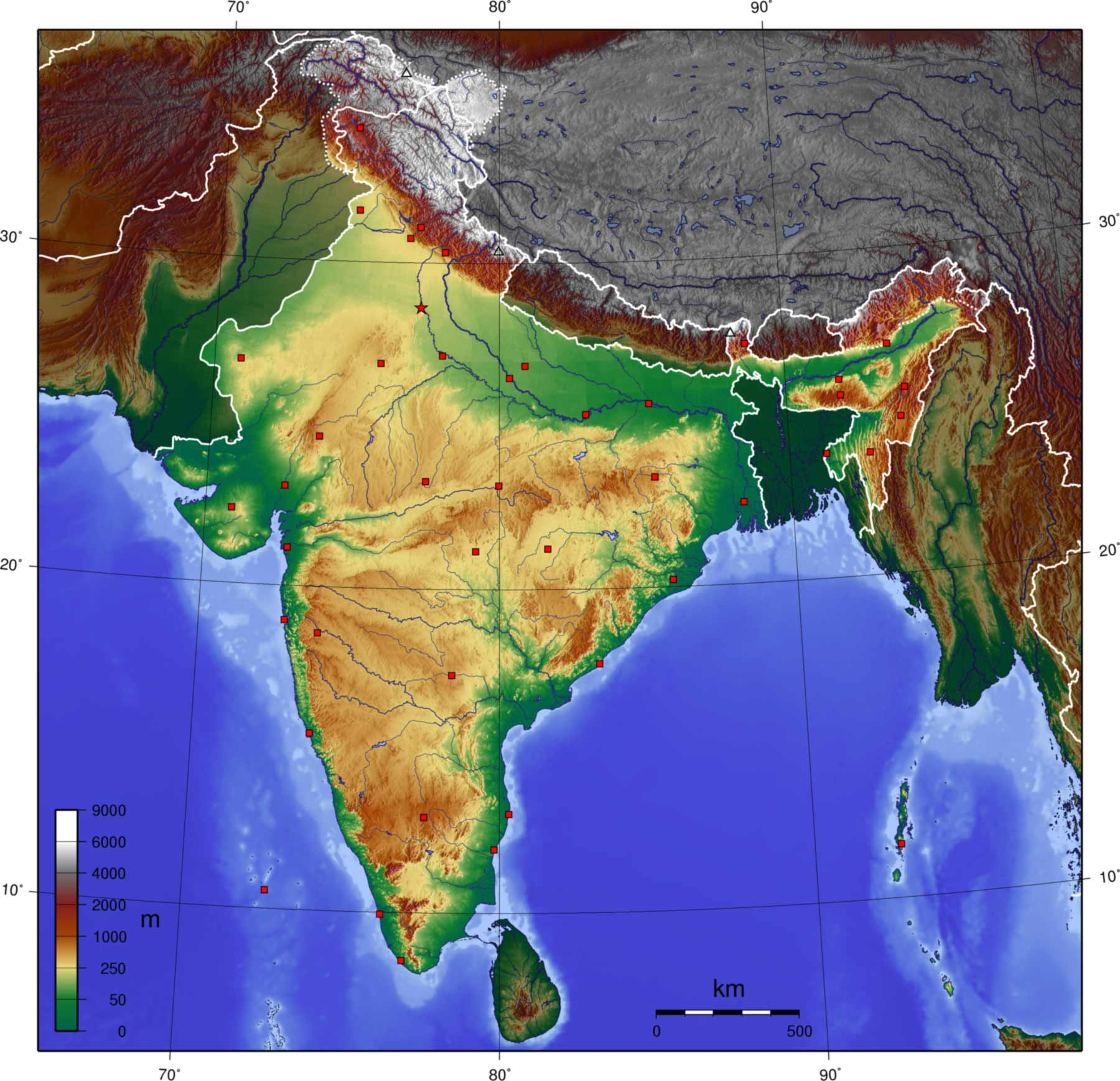 india topographical map