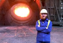 Dr. Szymon Kubal at the Tata Steel Port Talbot works
