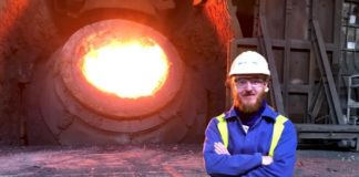 Dr. Szymon Kubal at the Tata Steel Port Talbot works