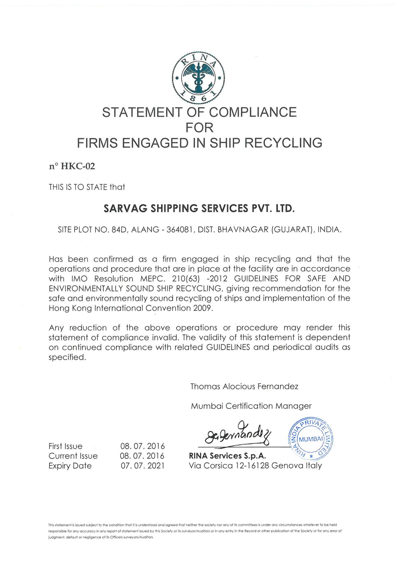 Leela Green Ship Recycling P Ltd Plot No 35 Have Received Soc