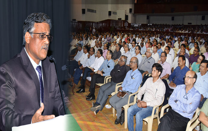 PK Rath, CMD,RINL addressing the senior officers of the plant today in Ukkunagaram.