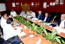 PK Rath, CMD,RINL chairing the AGM at Visakhapatnam today. RINL Directors are seen